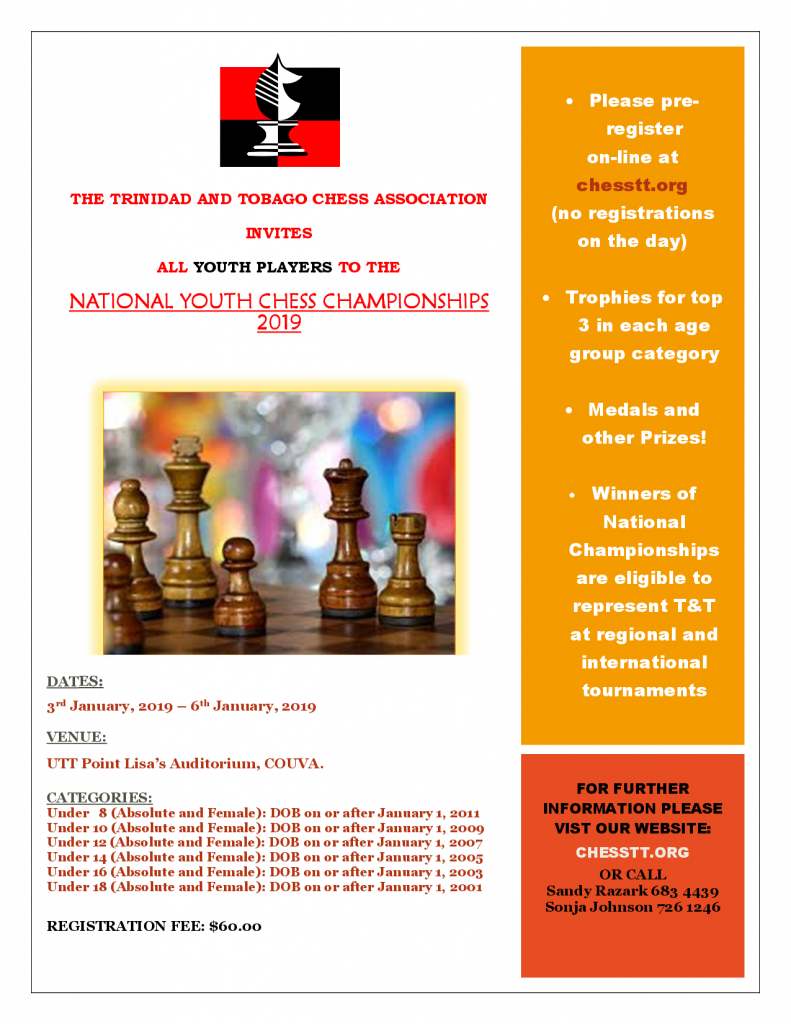 NATIONAL YOUTH CHESS CHAMPIONSHIPS 2019 – Trinidad and